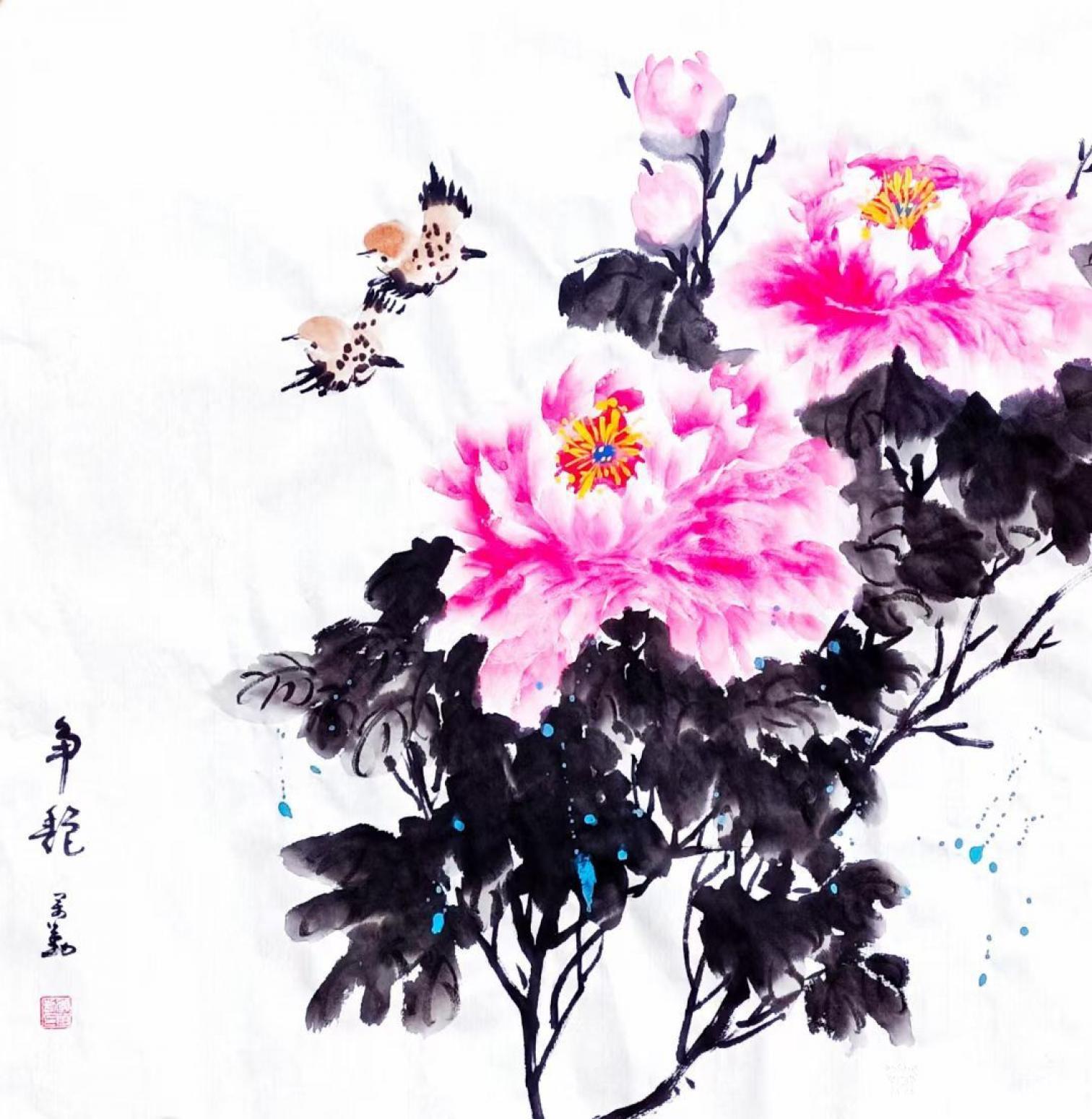 李万勤国画作品《花鸟牡丹-争艳》