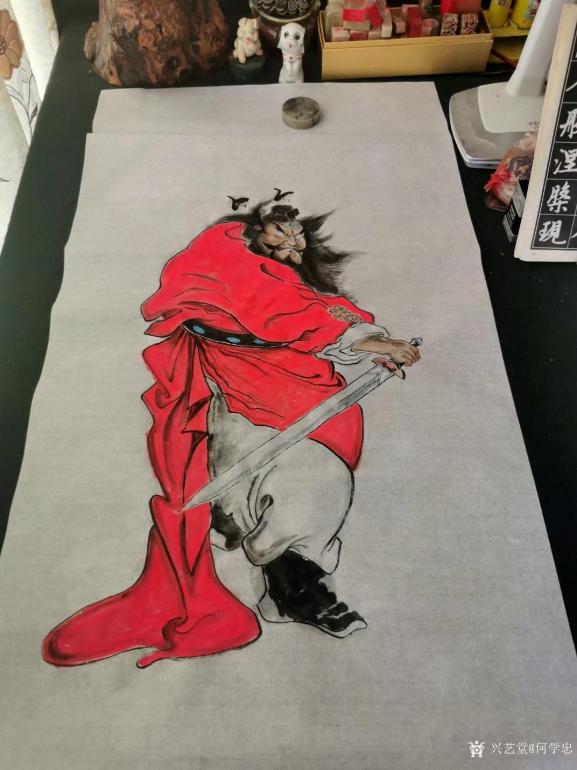 何学忠国画作品《人物钟馗-神威图》【图0】