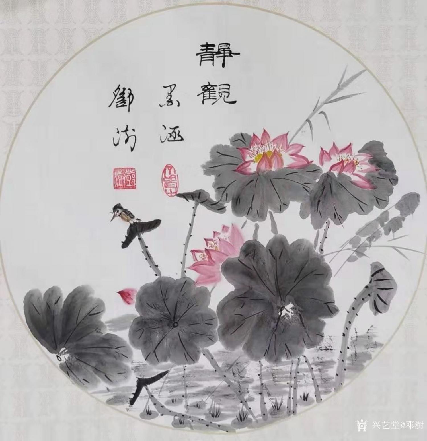 邓澍国画作品《花鸟荷花-静观》