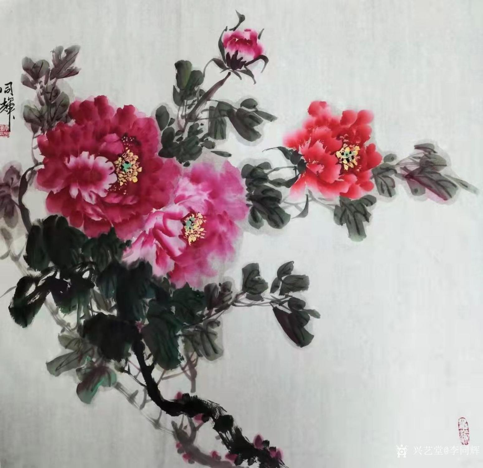 李同辉国画作品《花鸟-牡丹花》