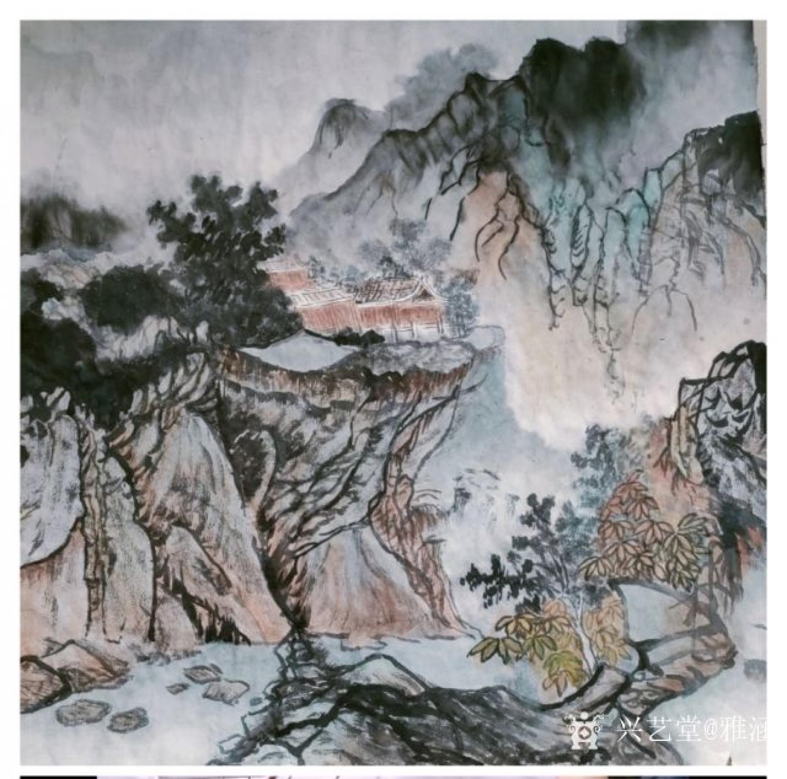 雅涵国画作品《青绿山水》