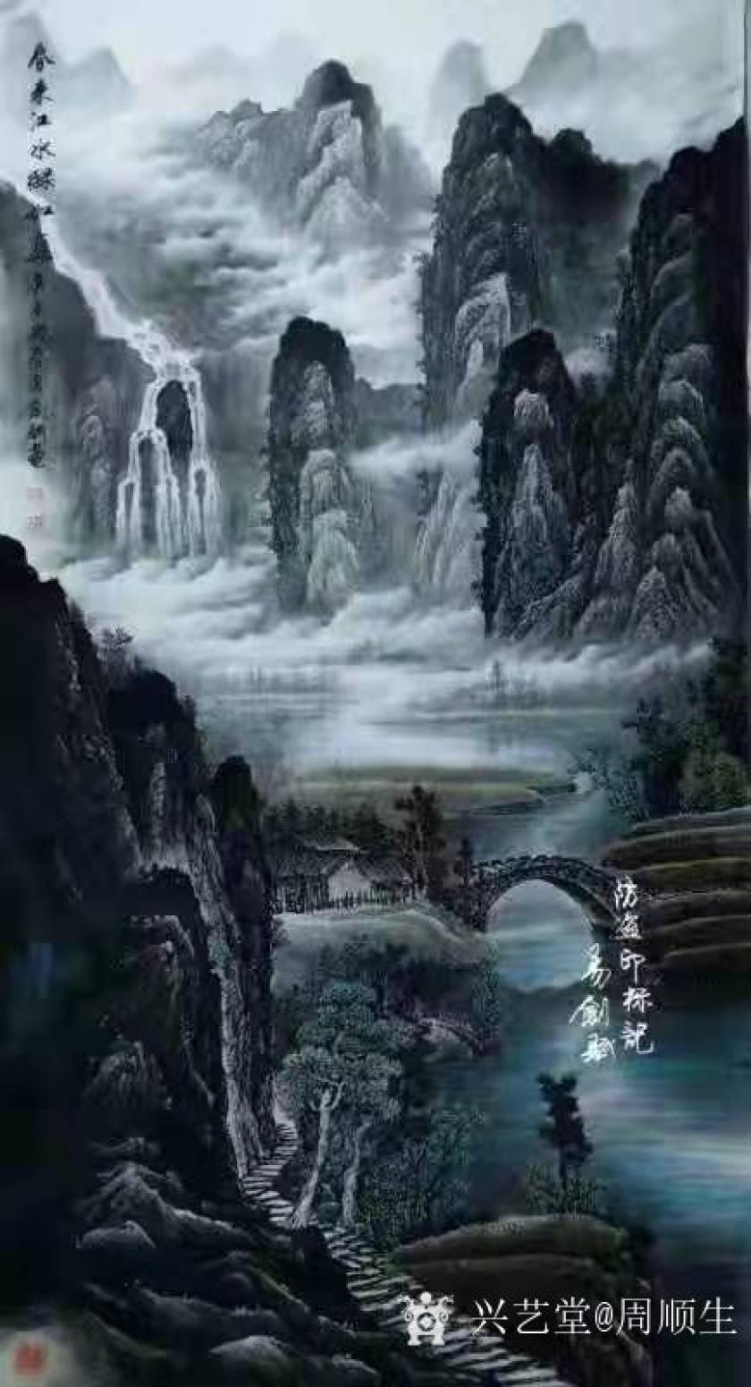 周顺生国画作品《易剑赋春江水大六尺》