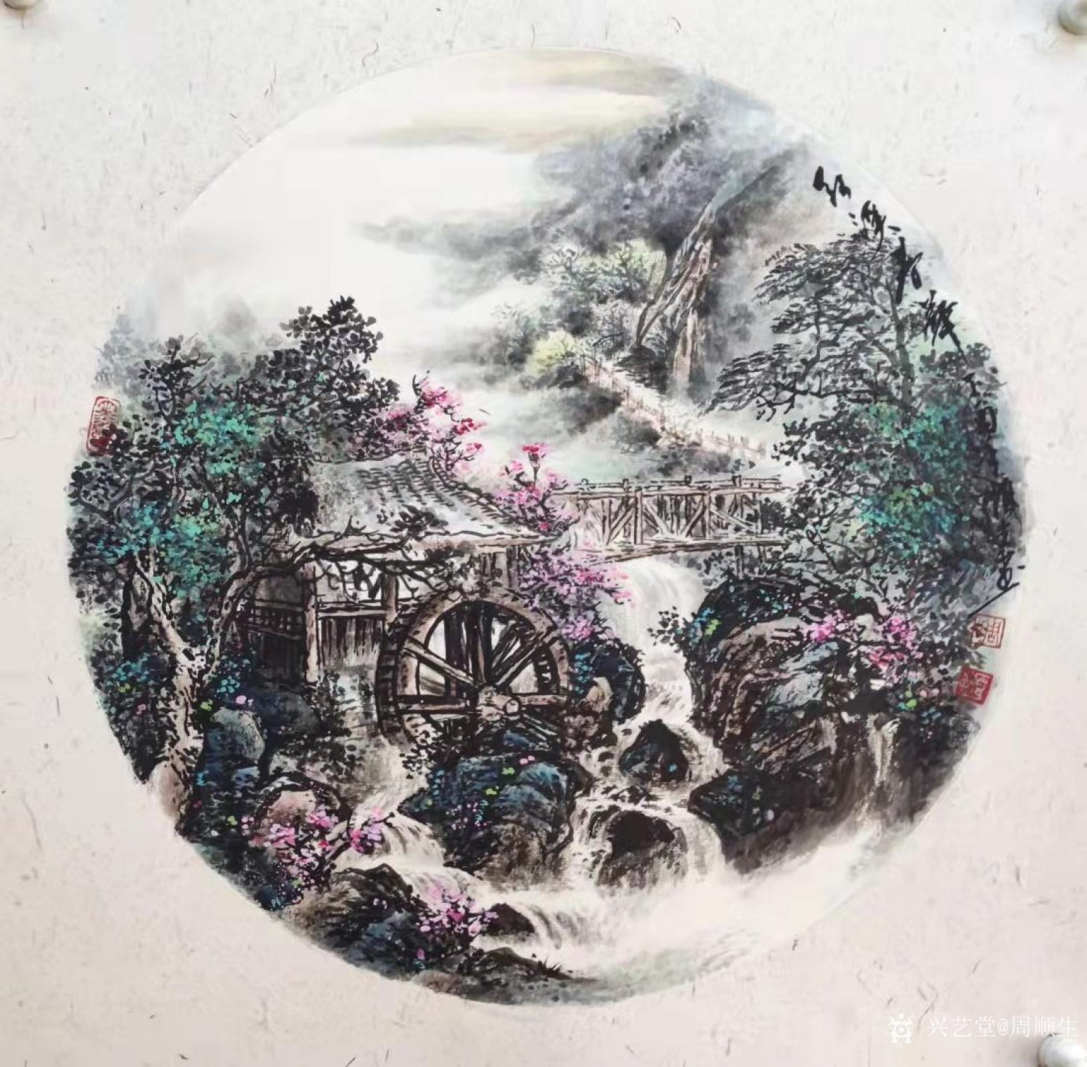 周顺生国画作品《三尺斗方红溪仙境》