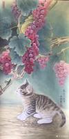 艺术家汪林日记:工笔花鸟画小猫与蚂蚱《秋趣》和簕杜鹃双兔图《小伙伴》,附局部【图0】