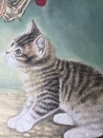 艺术家汪林日记:工笔花鸟画小猫与蚂蚱《秋趣》和簕杜鹃双兔图《小伙伴》,附局部【图1】