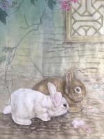 艺术家汪林日记:工笔花鸟画小猫与蚂蚱《秋趣》和簕杜鹃双兔图《小伙伴》,附局部【图2】