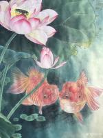 艺术家汪林日记:工笔荷花鲤鱼《年年有余》取唐代姚鹄诗歌《旱鱼词上苗相公》意而【图0】