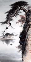 艺术家罗树辉日记:国画松树山水《秋江帆影》,尺寸四尺整纸68X138Cm,乙亥【图0】