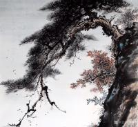艺术家罗树辉日记:国画松树山水《秋江帆影》,尺寸四尺整纸68X138Cm,乙亥【图1】