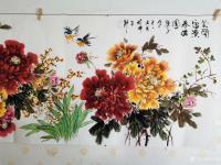 艺术家王长泉日记:国画牡丹画《花开复古春满园》,尺寸四尺横幅68X138厘米,【图1】