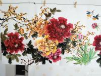 艺术家王长泉日记:国画牡丹画《花开复古春满园》,尺寸四尺横幅68X138厘米,【图2】