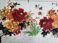 艺术家王长泉日记:国画牡丹画《花开复古春满园》,尺寸四尺横幅68X138厘米,【图3】