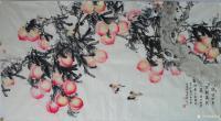 """艺术家李伟强日记:国画《咏桃》取唐太宗李世民《咏桃》诗句 """"向日分千笑,迎风共【图0】"""