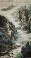 艺术家宁建华收藏:国画彩墨山水画《峡谷新风》,大六尺原创作品。【图0】