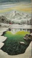 艺术家宁建华收藏:国画彩墨山水画《雪融山河春》,大六尺原创作品请欣赏。【图0】