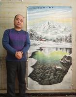 艺术家宁建华收藏:国画彩墨山水画《雪融山河春》,大六尺原创作品请欣赏。【图1】