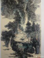 艺术家杨增超日记:国画山水画作品《高山流水》彩墨画,尺寸四尺竖幅68X138C【图1】