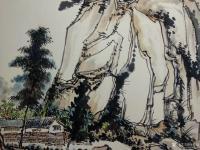 艺术家杨增超日记:国画山水画作品《山村初晴》彩墨画,卡纸,尺寸斗方50x50c【图1】