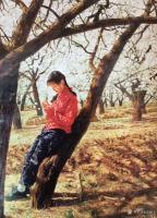 艺术家凌振宁日记:油画人物画《穿红衣服的农家姑娘》; 画的是一种情怀,看画似【图0】