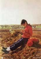 艺术家凌振宁日记:油画人物画《穿红衣服的农家姑娘》; 画的是一种情怀,看画似【图1】