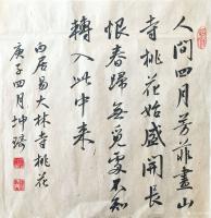 艺术家于坤琦日记:行书斗方白居易大林寺桃花(30x30cm,悬肘书)【图0】