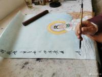 艺术家任燕收藏:国画人物画《阿耨观音》作品尺寸四尺竖幅68X138CM; 【图1】