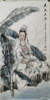 艺术家任燕收藏:国画人物画《阿耨观音》作品尺寸四尺竖幅68X138CM; 【图2】