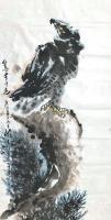艺术家王贵烨日记:国画动物画老鹰系列作品《远瞻山河》《秋鹰整翮当云霄》;庚子年【图1】