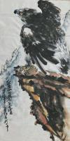 艺术家王贵烨日记:国画动物画老鹰系列作品《远瞻山河》《秋鹰整翮当云霄》;庚子年【图2】