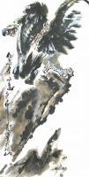 艺术家王贵烨日记:国画动物画老鹰系列作品《远瞻山河》《秋鹰整翮当云霄》;庚子年【图5】