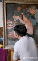 艺术家杨洪顺日记:油画《二哥家杀猪啦》《犁田》,杨洪顺农村题材油画作品欣赏;【图0】