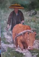 艺术家杨洪顺日记:油画《二哥家杀猪啦》《犁田》,杨洪顺农村题材油画作品欣赏;【图3】