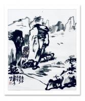 艺术家龚光万日记:国画水墨写意山水画《诗题竹窗外,茶煮石根泉》作品尺寸小八尺2【图1】