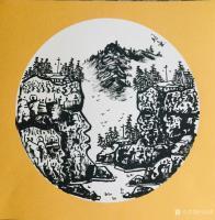 艺术家马培童日记:马培童焦墨山水画系列作品欣赏,庚子年小卡作品。 岩画之美,【图0】