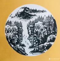 艺术家马培童日记:马培童焦墨山水画系列作品欣赏,庚子年小卡作品。 岩画之美,【图1】