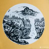 艺术家马培童日记:马培童焦墨山水画系列作品欣赏,庚子年小卡作品。 岩画之美,【图2】