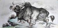 艺术家谷风日记:牛年画牛,国画动物画《牛气冲天》《牛转乾坤》,作品尺寸四尺横【图0】
