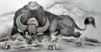 艺术家谷风日记:牛年画牛,国画动物画《牛气冲天》《牛转乾坤》,作品尺寸四尺横【图1】