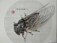 艺术家谷风日记:国画动物工笔画《知了》,偶得一知了,观之画之。庚子年秋月谷风【图0】