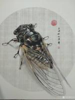 艺术家谷风日记:国画动物工笔画《知了》,偶得一知了,观之画之。庚子年秋月谷风【图1】