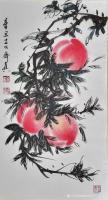 艺术家齐真日记:国画花鸟画作品《桃》,尺寸91cm×51cm,作者江南_齐真【图0】