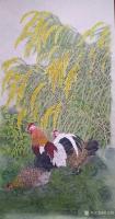 艺术家胡记领日记:国画花鸟工笔画《丰收大吉》,作品尺寸138-68厘米,熟宣纸【图0】