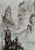 艺术家陈刚日记:画三幅国画山水水粉画《黄山烟云》《楠溪捕鱼》,装裱两幅,又开【图0】