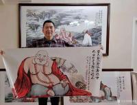 艺术家尚建国日记:国画人物画《福由心造》《得大自在》《福从佛缘得》,    【图4】