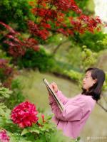 艺术家罗虹明生活:方彩植物园真的很美,每个角落都是一幅画。春日,携友踏青写生。【图2】