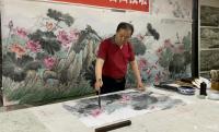 艺术家高显惠日记:国画花鸟画荷花《金玉满堂和气致祥》,作品尺寸364X130C【图1】