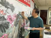 艺术家高显惠日记:国画花鸟画荷花《金玉满堂和气致祥》,作品尺寸364X130C【图2】
