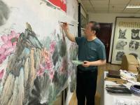艺术家高显惠日记:国画花鸟画荷花《金玉满堂和气致祥》,作品尺寸364X130C【图3】