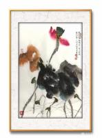 艺术家赵承锐日记:国画花鸟画水墨荷花小品《舒卷有余情》《绿叶轻摇水面风》,辛丑【图0】