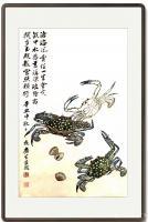 艺术家石广生日记:国画螃蟹《金戈铁甲》,辛丑年仲秋石广生创作,附装裱效果图。【图1】